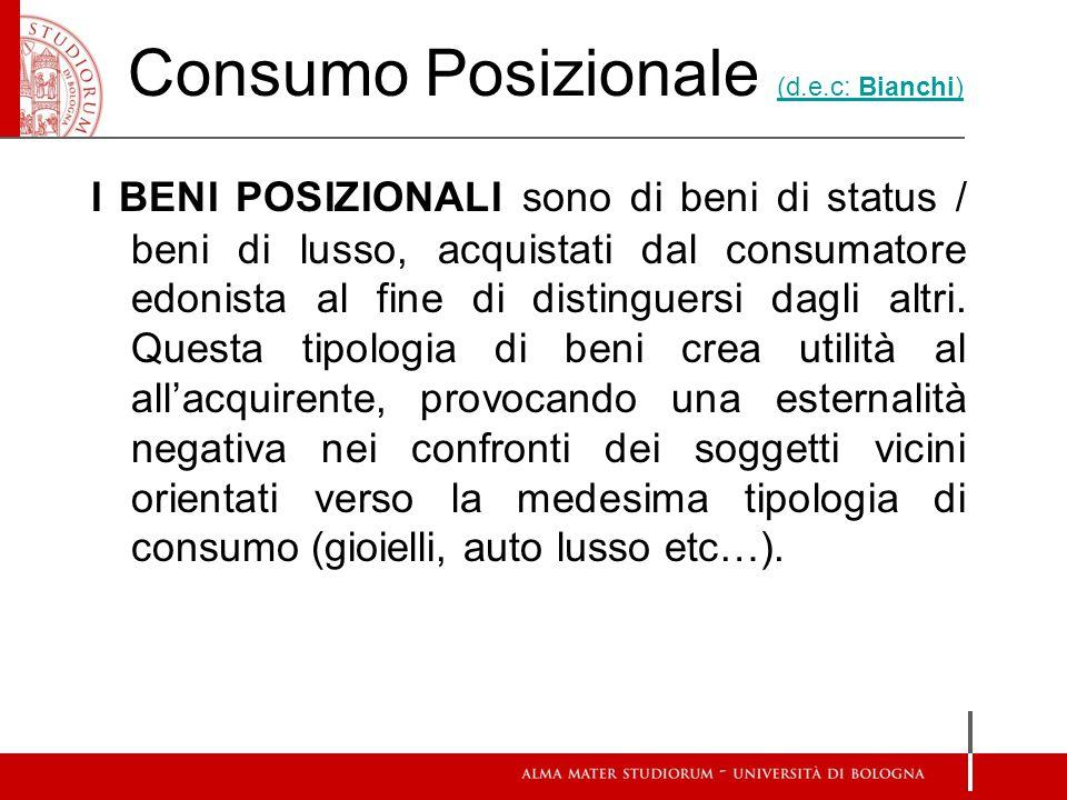Consumo Posizionale (d.e.c: Bianchi) (d.e.c: Bianchi) I BENI POSIZIONALI sono di beni di status / beni di lusso, acquistati dal consumatore edonista al fine di distinguersi dagli altri.