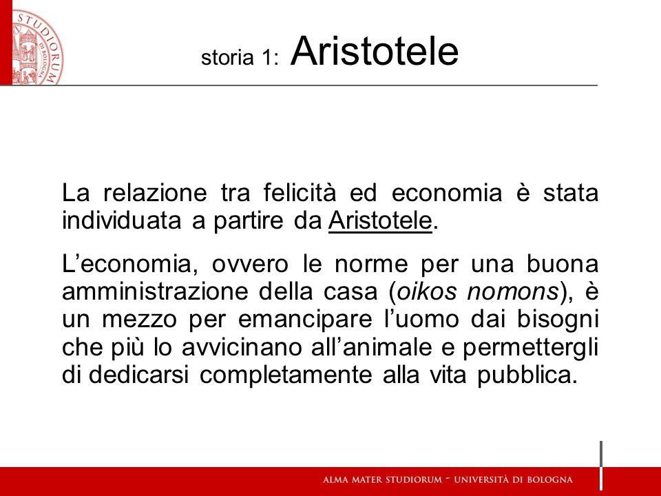 storia 1: Aristotele La relazione tra felicità ed economia è stata individuata a partire da Aristotele. L'economia, ovvero le norme per una buona ammi