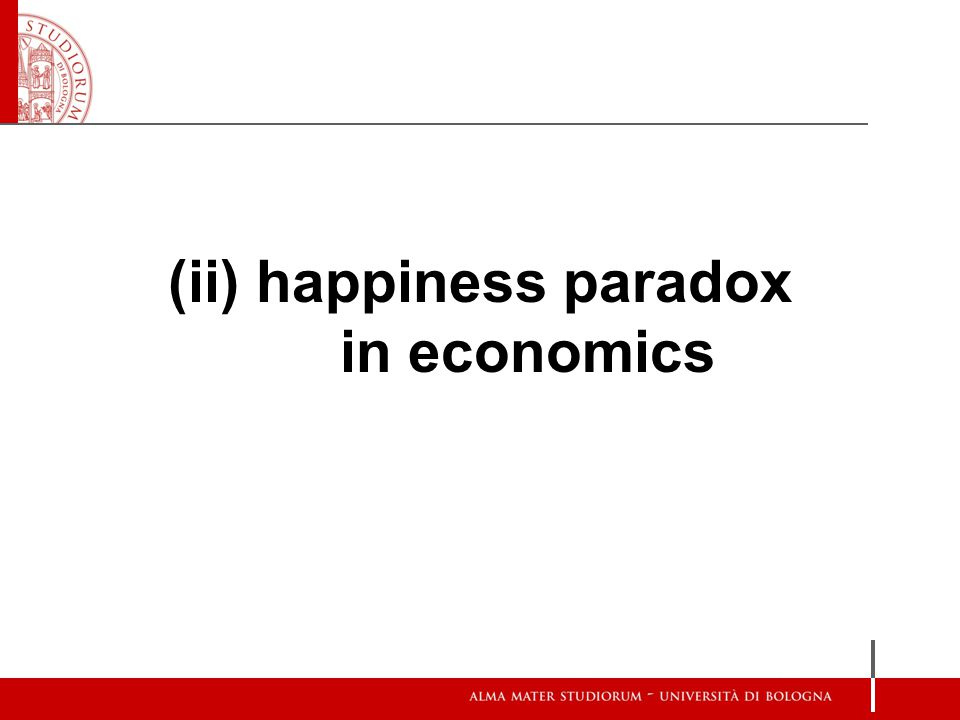 (ii) happiness paradox in economics