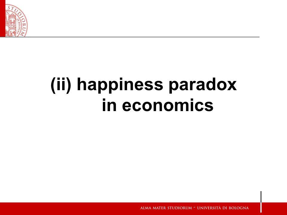 Easterlin Paradox Il primo dato empirico da cui si è partiti negli studi sulla felicità, presto divenuto noto come il paradosso della felicità in economia , o paradosso di Easterlin (1974), è stata la inesistente o troppo piccola correlazione tra reddito e felicità, tra benessere economico e benessere generale.