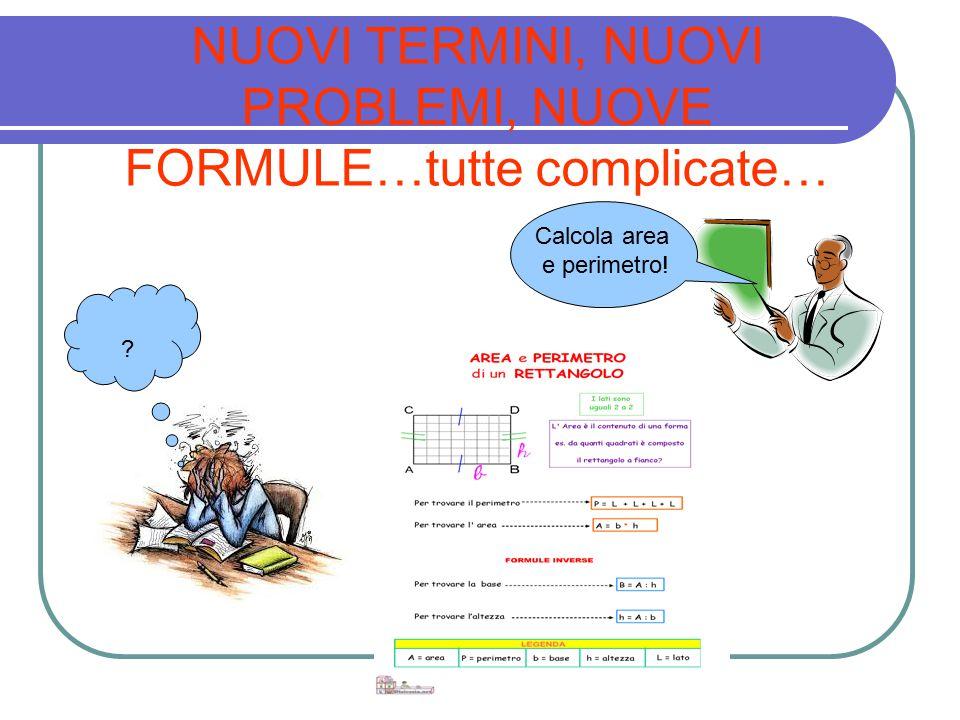 NUOVI TERMINI, NUOVI PROBLEMI, NUOVE FORMULE…tutte complicate… ? Calcola area e perimetro!