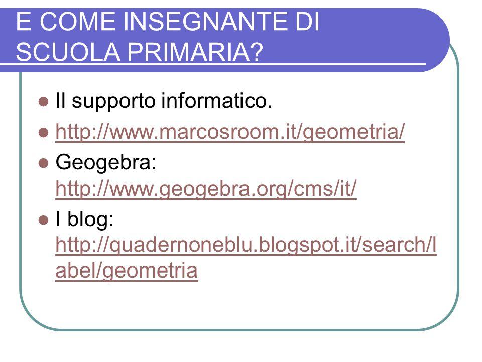 E COME INSEGNANTE DI SCUOLA PRIMARIA? Il supporto informatico. http://www.marcosroom.it/geometria/ Geogebra: http://www.geogebra.org/cms/it/ http://ww