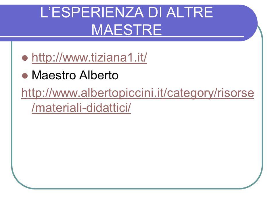 L'ESPERIENZA DI ALTRE MAESTRE http://www.tiziana1.it/ Maestro Alberto http://www.albertopiccini.it/category/risorse /materiali-didattici/