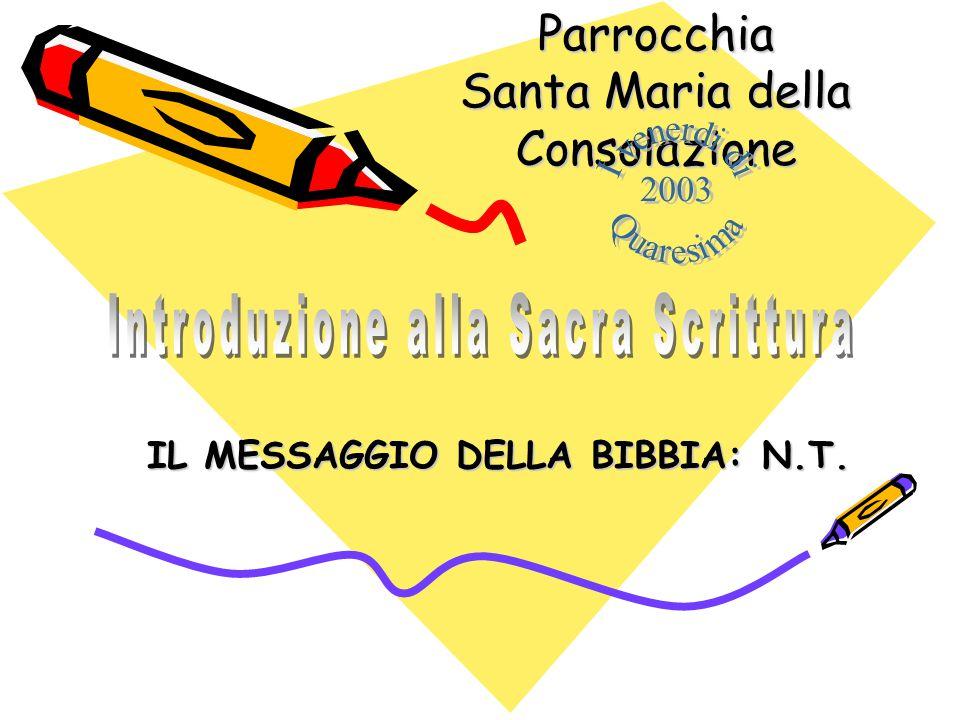 IL MESSAGGIO DELLA BIBBIA: N.T.Parrocchia Santa Maria della Consolazione