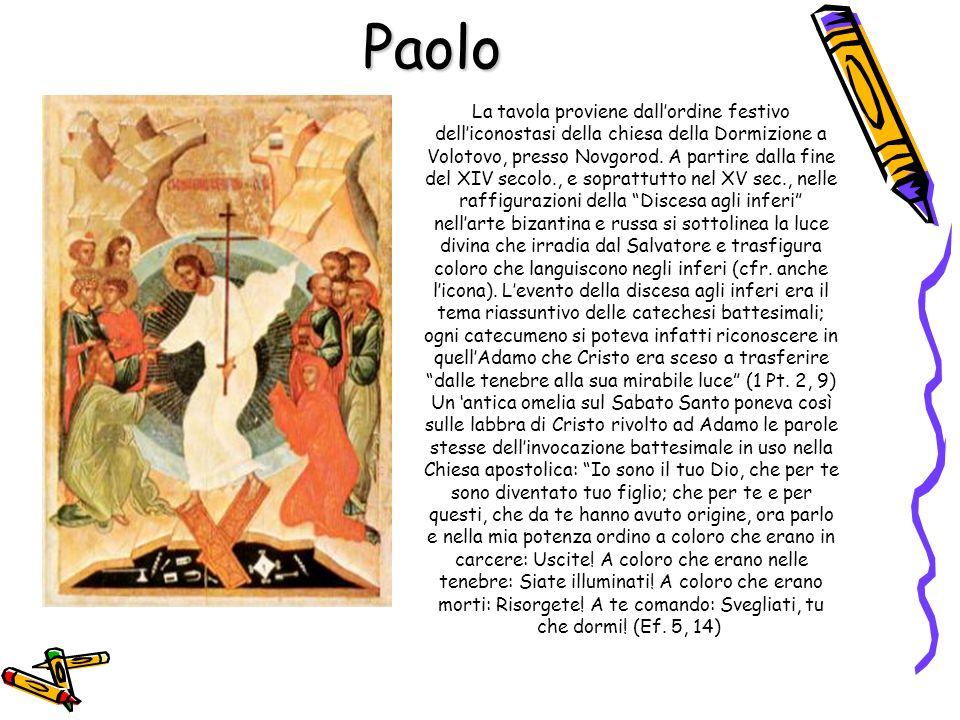 Paolo La tavola proviene dall'ordine festivo dell'iconostasi della chiesa della Dormizione a Volotovo, presso Novgorod. A partire dalla fine del XIV s