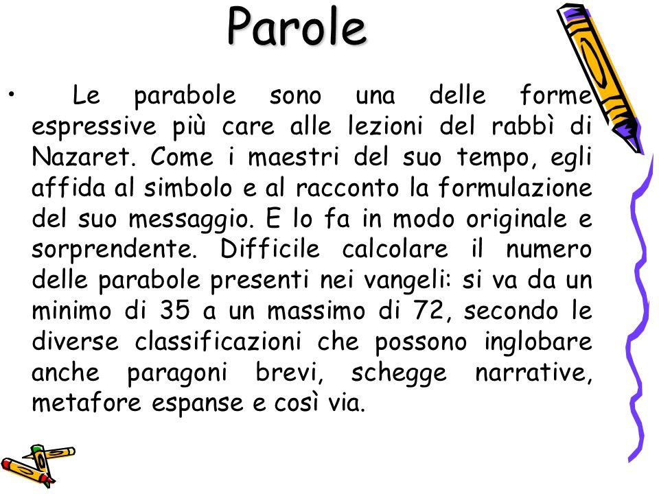 Le parabole sono una delle forme espressive più care alle lezioni del rabbì di Nazaret. Come i maestri del suo tempo, egli affida al simbolo e al racc