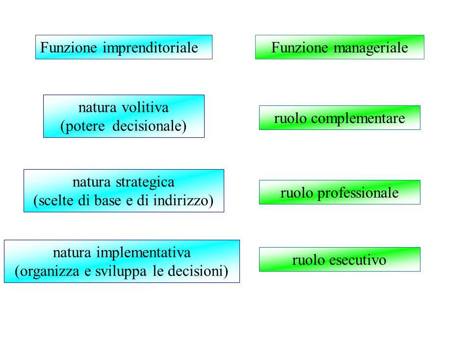 Funzione imprenditoriale natura volitiva (potere decisionale) Funzione manageriale natura strategica (scelte di base e di indirizzo) natura implementativa (organizza e sviluppa le decisioni) ruolo professionale ruolo complementare ruolo esecutivo