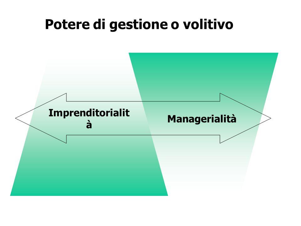 Potere di gestione o volitivo Managerialità Imprenditorialit à