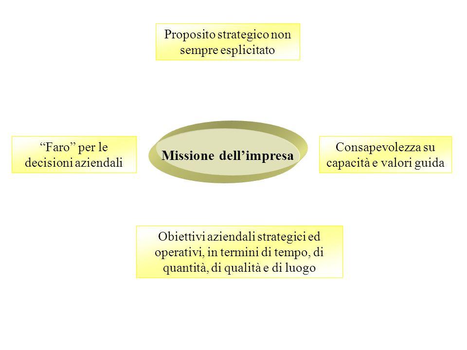 Missione dell'impresa Consapevolezza su capacità e valori guida Obiettivi aziendali strategici ed operativi, in termini di tempo, di quantità, di qualità e di luogo Proposito strategico non sempre esplicitato Faro per le decisioni aziendali