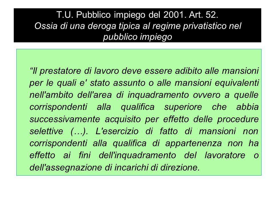 """T.U. Pubblico impiego del 2001. Art. 52. Ossia di una deroga tipica al regime privatistico nel pubblico impiego """"Il prestatore di lavoro deve essere a"""