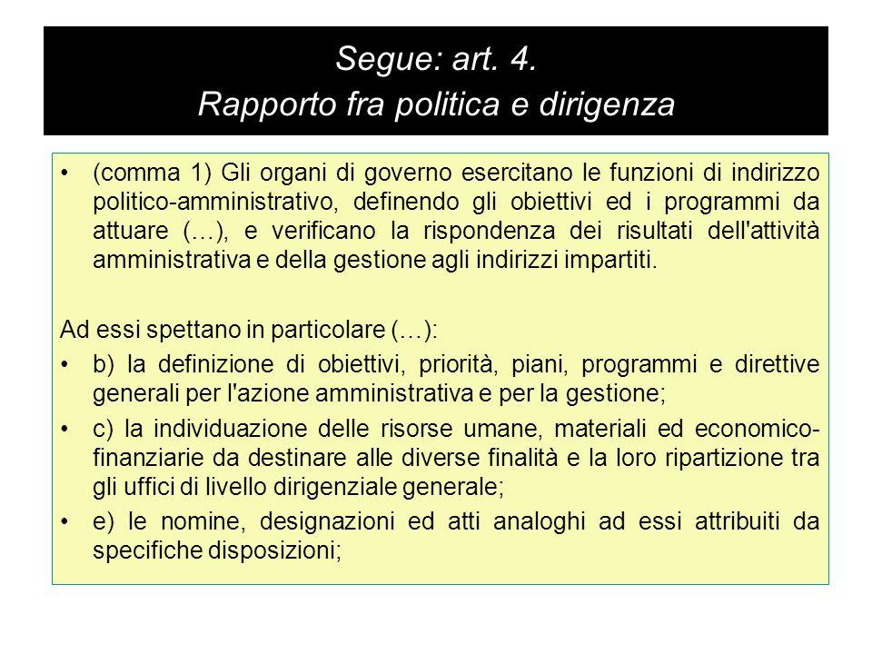 Segue: art. 4. Rapporto fra politica e dirigenza (comma 1) Gli organi di governo esercitano le funzioni di indirizzo politico-amministrativo, definend