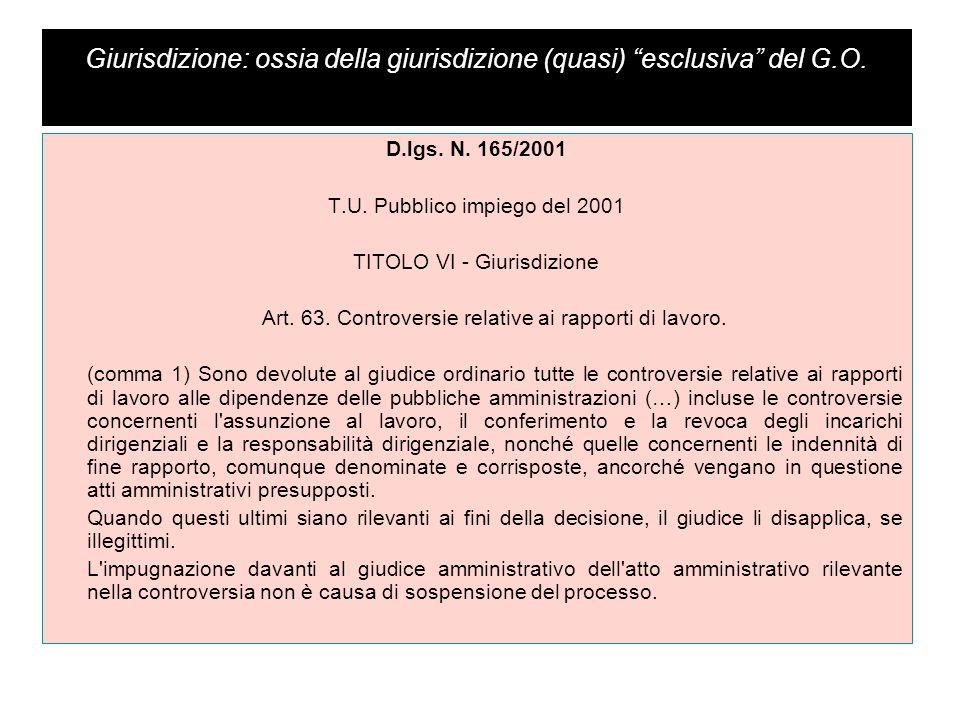 """Giurisdizione: ossia della giurisdizione (quasi) """"esclusiva"""" del G.O. D.lgs. N. 165/2001 T.U. Pubblico impiego del 2001 TITOLO VI - Giurisdizione Art."""