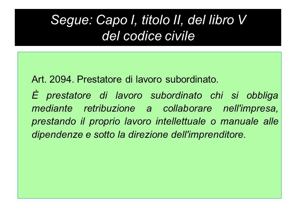 Segue: Capo I, titolo II, del libro V del codice civile Art.