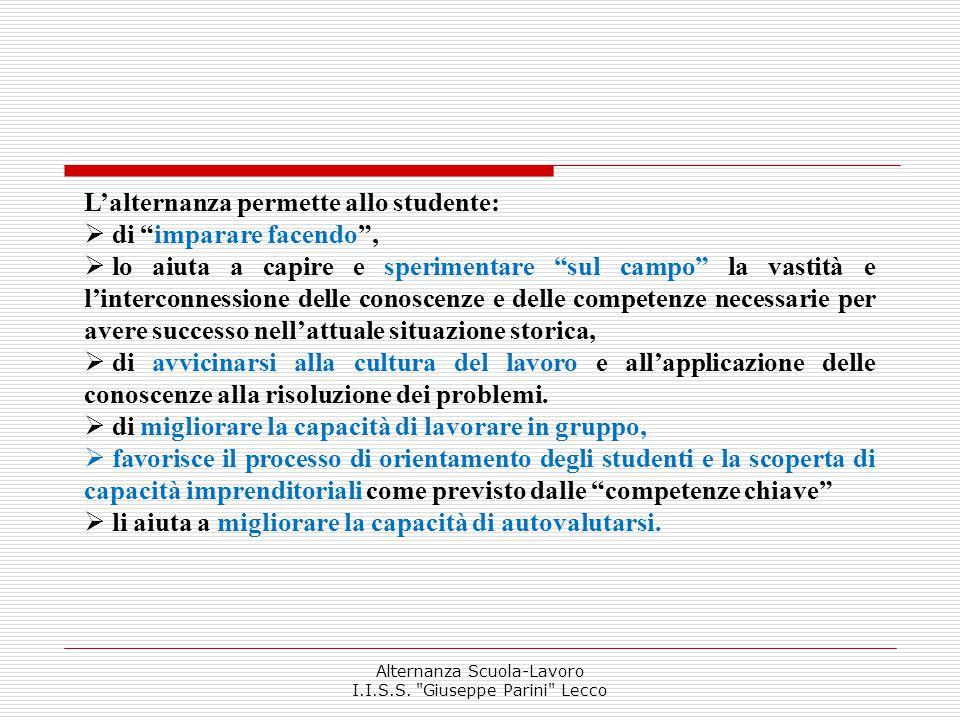 Planning classi 3^ ITER Alternanza Scuola-Lavoro I.I.S.S.