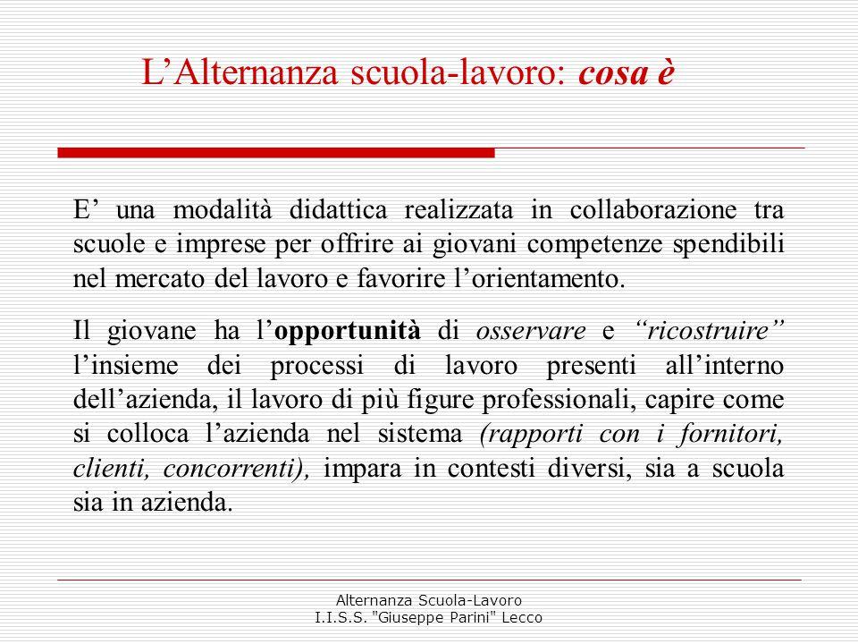 Le forme di Alternanza  Intera classe  Un solo gruppo di alunni Alternanza Scuola-Lavoro I.I.S.S.