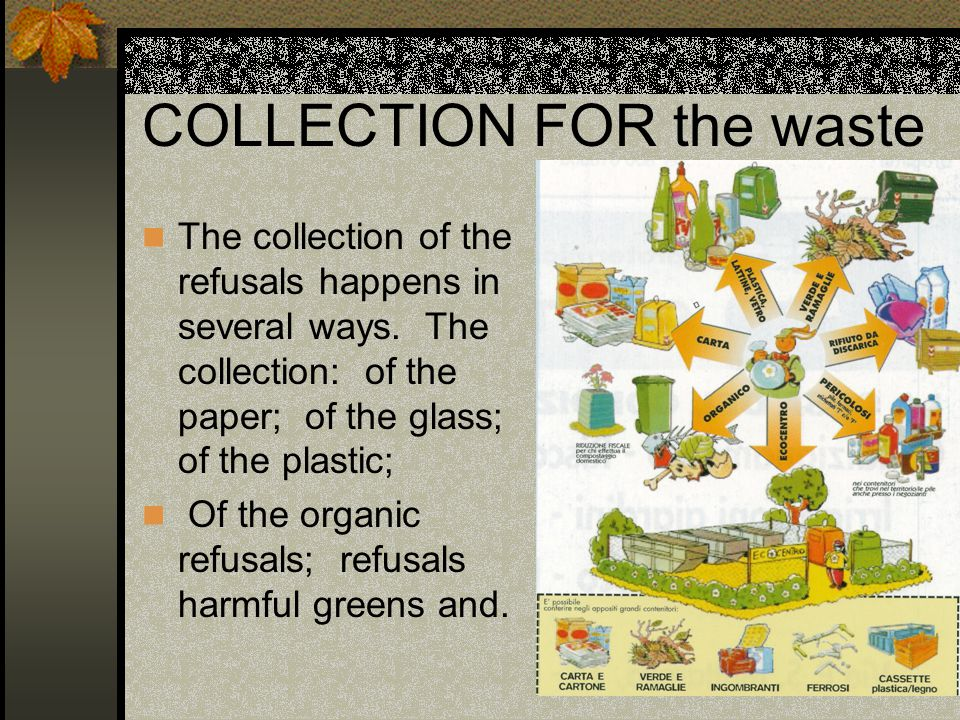 COLLECTION FOR the waste The collection of the refusals happens in several ways.