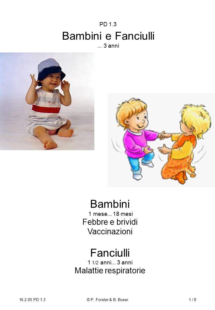 16.2.05 PD 1.3© P. Forster & B. Buser1 / 8 PD 1.3 Bambini e Fanciulli...