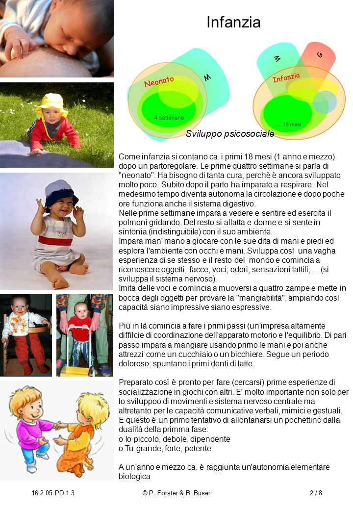 16.2.05 PD 1.3© P. Forster & B. Buser2 / 8 Infanzia Come infanzia si contano ca.