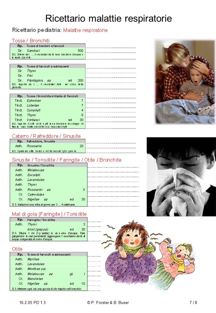 16.2.05 PD 1.3© P. Forster & B. Buser7 / 8 Ricettario malattie respiratorie