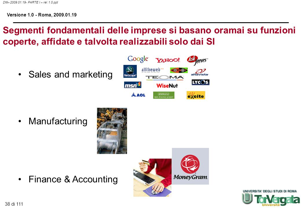 38 di 111 DM– 2009.01.19- PARTE I – rel. 1.0.ppt Versione 1.0 - Roma, 2009.01.19 Sales and marketing Manufacturing Finance & Accounting Segmenti fonda