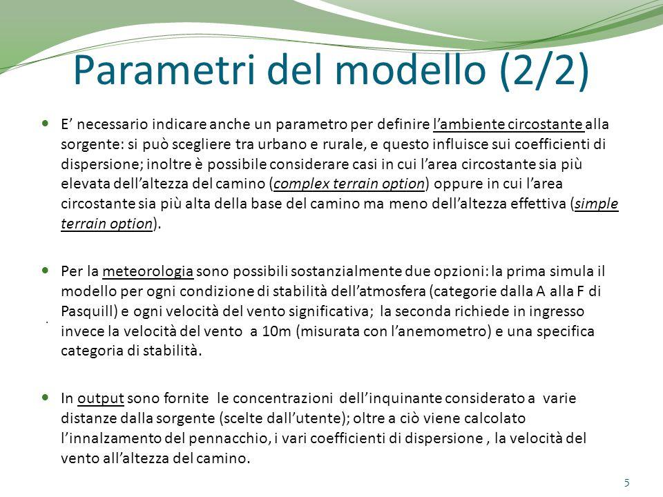 APPLICAZIONE CASO REALE (1/4) CENTRALE TERMOELETTRICA DI SARMATO (PC)  180MW prodotti nel 2004 Dati provenienti dalla dichiarazione ambientale del 2005 (http://www.edison.it/media/EMAS-GETE1-sarmato2005.pdf)http://www.edison.it/media/EMAS-GETE1-sarmato2005.pdf Simulazione con SCREEN3 per le emissioni di NO x, mettendosi nelle peggiori condizioni meteorologiche (classe F di stabilità di Pasquill, u 10 = 1 m/s) 6