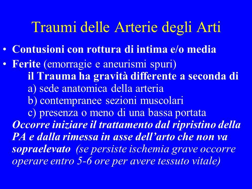 Traumi delle Arterie degli Arti Contusioni con rottura di intima e/o media Ferite (emorragie e aneurismi spuri) il Trauma ha gravità differente a seco