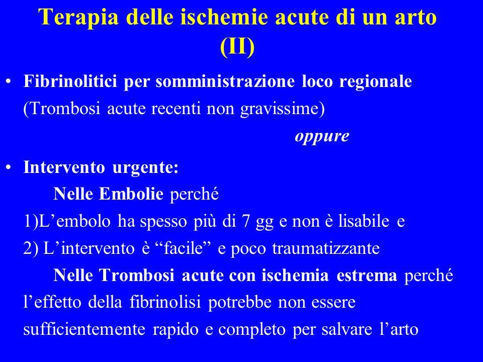 Terapia delle ischemie acute di un arto (II) Fibrinolitici per somministrazione loco regionale (Trombosi acute recenti non gravissime) oppure Interven
