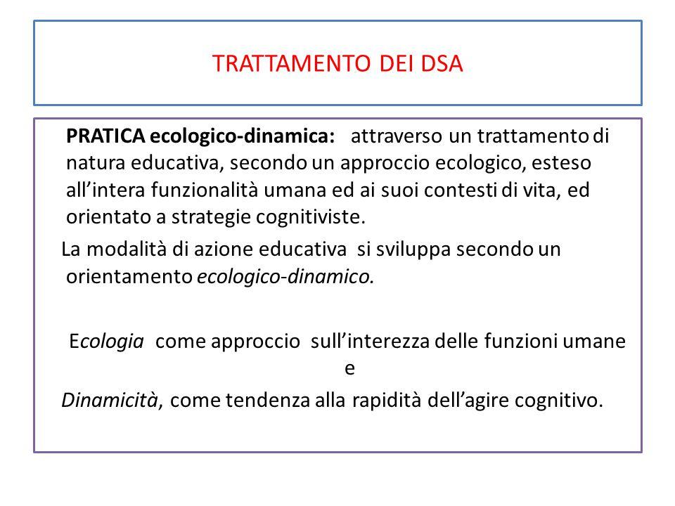 TRATTAMENTO DEI DSA PRATICA ecologico-dinamica: attraverso un trattamento di natura educativa, secondo un approccio ecologico, esteso all'intera funzionalità umana ed ai suoi contesti di vita, ed orientato a strategie cognitiviste.