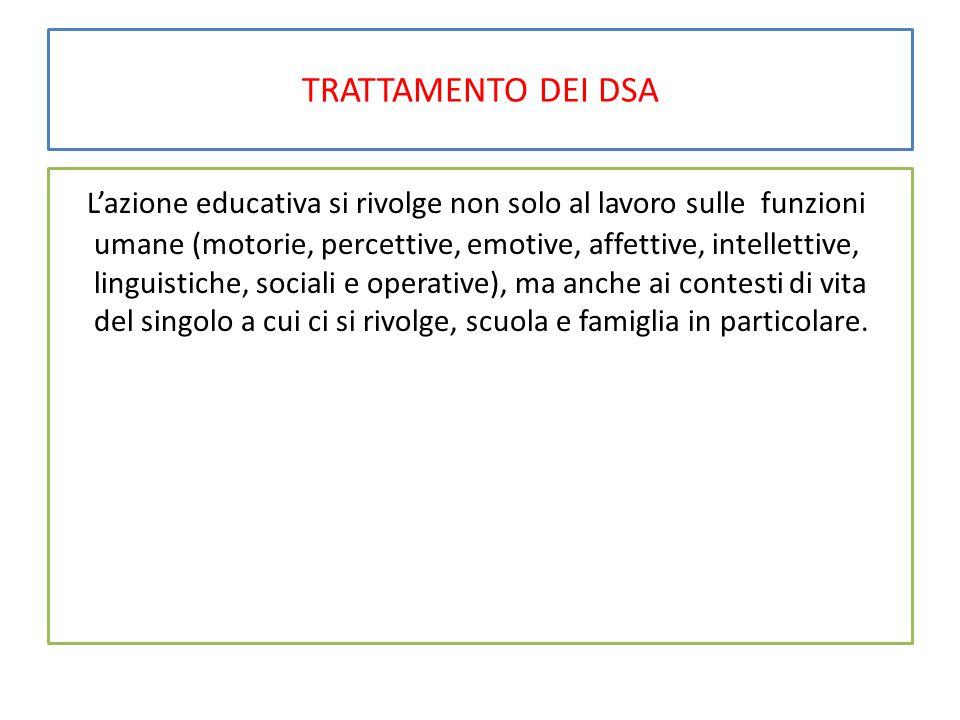 TRATTAMENTO DEI DSA L'azione educativa si rivolge non solo al lavoro sulle funzioni umane (motorie, percettive, emotive, affettive, intellettive, ling