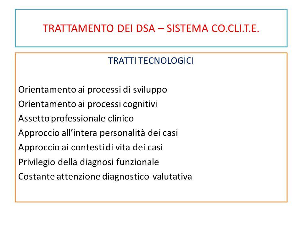 TRATTAMENTO DEI DSA – SISTEMA CO.CLI.T.E. TRATTI TECNOLOGICI Orientamento ai processi di sviluppo Orientamento ai processi cognitivi Assetto professio