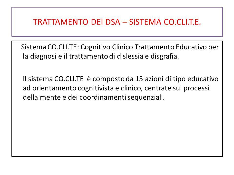 TRATTAMENTO DEI DSA – SISTEMA CO.CLI.T.E. Sistema CO.CLI.TE: Cognitivo Clinico Trattamento Educativo per la diagnosi e il trattamento di dislessia e d