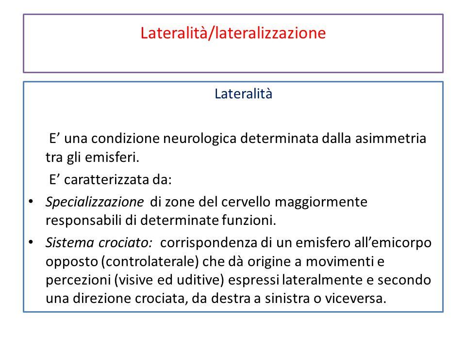 Lateralità/lateralizzazione Lateralità E' una condizione neurologica determinata dalla asimmetria tra gli emisferi. E' caratterizzata da: Specializzaz