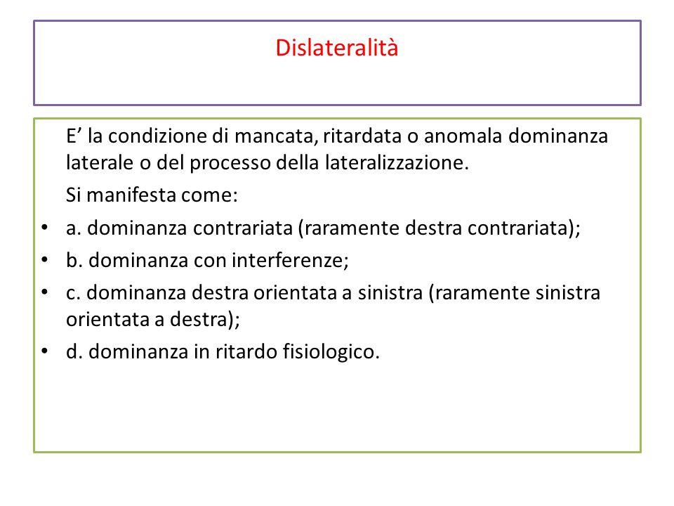 Dislateralità E' la condizione di mancata, ritardata o anomala dominanza laterale o del processo della lateralizzazione. Si manifesta come: a. dominan