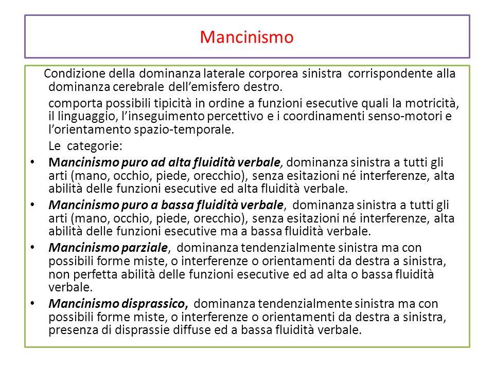 Mancinismo Condizione della dominanza laterale corporea sinistra corrispondente alla dominanza cerebrale dell'emisfero destro. comporta possibili tipi