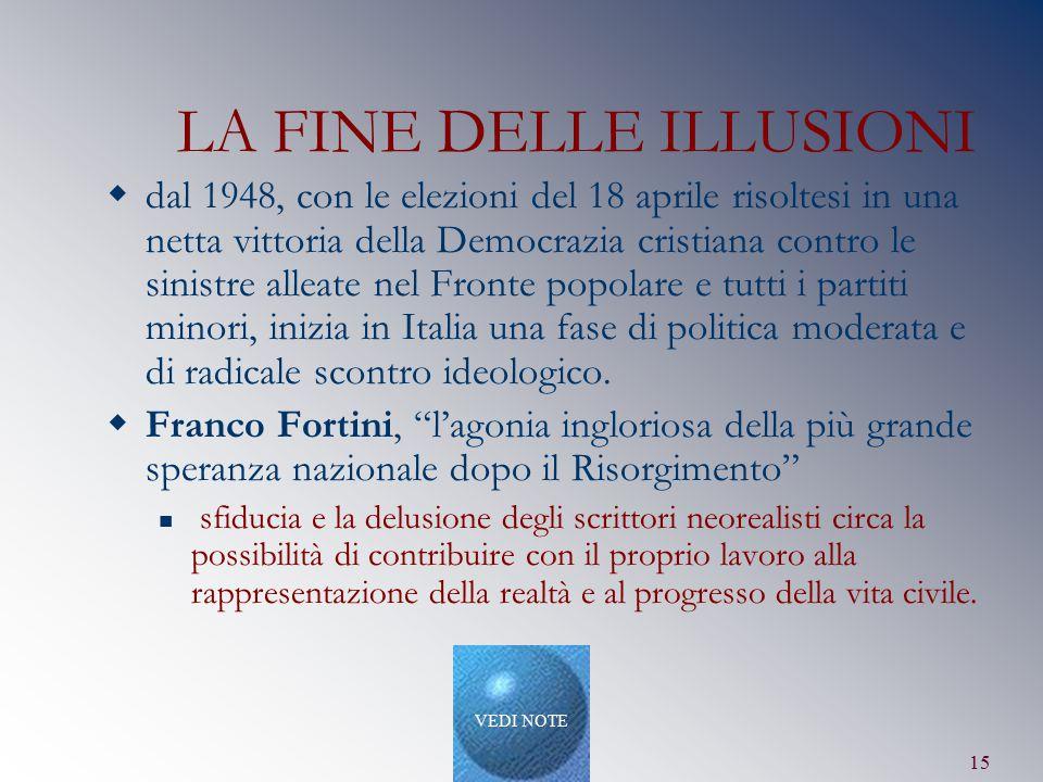 15 LA FINE DELLE ILLUSIONI  dal 1948, con le elezioni del 18 aprile risoltesi in una netta vittoria della Democrazia cristiana contro le sinistre all