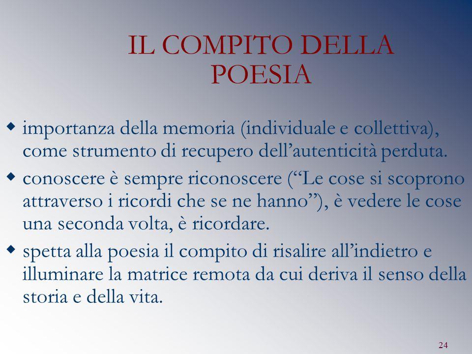 24 IL COMPITO DELLA POESIA  importanza della memoria (individuale e collettiva), come strumento di recupero dell'autenticità perduta.  conoscere è s