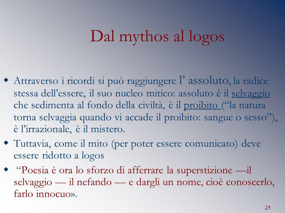 25 Dal mythos al logos  Attraverso i ricordi si può raggiungere l' assoluto, la radice stessa dell'essere, il suo nucleo mitico: assoluto è il selvag