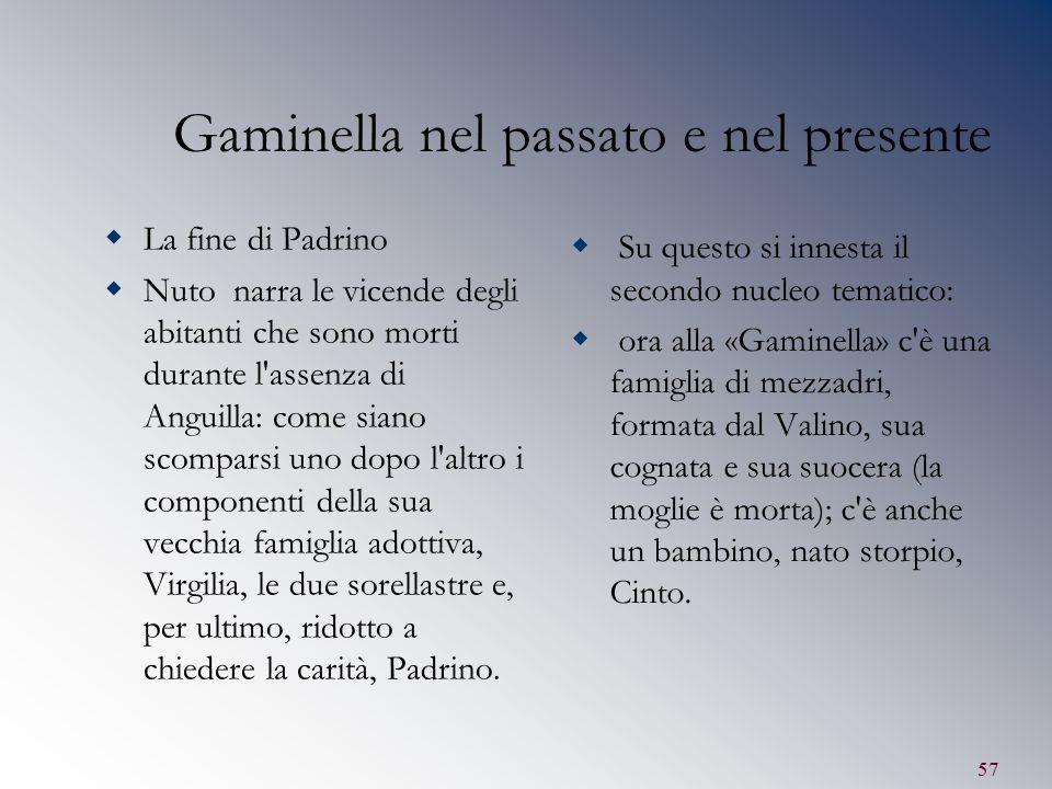 57 Gaminella nel passato e nel presente  La fine di Padrino  Nuto narra le vicende degli abitanti che sono morti durante l'assenza di Anguilla: come