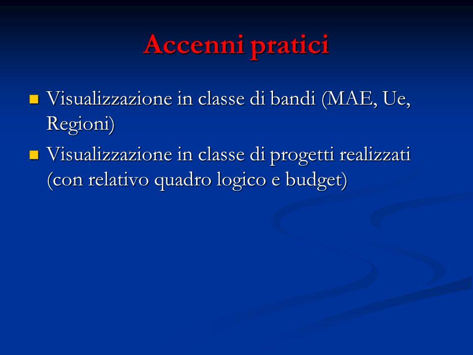Accenni pratici Visualizzazione in classe di bandi (MAE, Ue, Regioni) Visualizzazione in classe di bandi (MAE, Ue, Regioni) Visualizzazione in classe