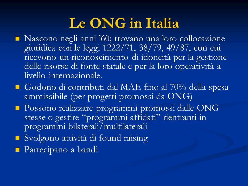 Le ONG in Italia Nascono negli anni '60; trovano una loro collocazione giuridica con le leggi 1222/71, 38/79, 49/87, con cui ricevono un riconoscimento di idoneità per la gestione delle risorse di fonte statale e per la loro operatività a livello internazionale.
