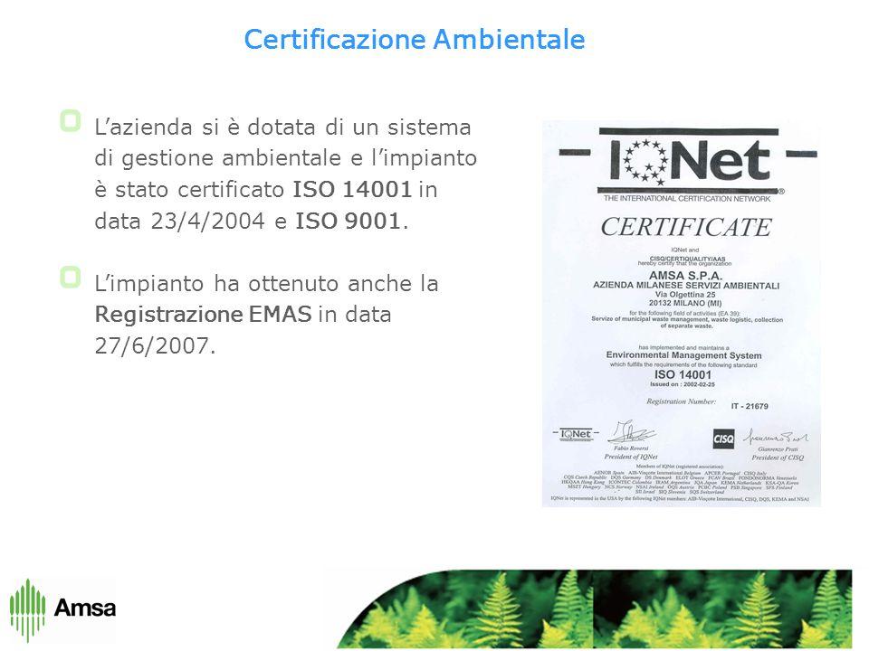 Certificazione Ambientale L'azienda si è dotata di un sistema di gestione ambientale e l'impianto è stato certificato ISO 14001 in data 23/4/2004 e ISO 9001.
