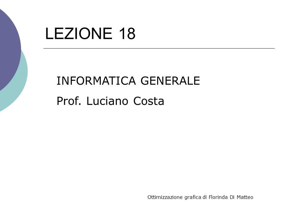 LEZIONE 18 INFORMATICA GENERALE Prof. Luciano Costa Ottimizzazione grafica di Florinda Di Matteo