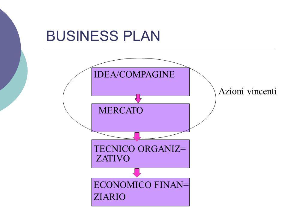 BUSINESS PLAN IDEA/COMPAGINE MERCATO TECNICO ORGANIZ= ZATIVO ECONOMICO FINAN= ZIARIO Azioni vincenti