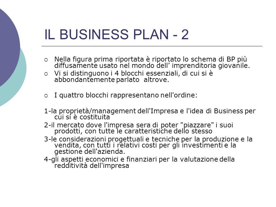 IL BUSINESS PLAN - 2  Nella figura prima riportata è riportato lo schema di BP più diffusamente usato nel mondo dell' imprenditoria giovanile.