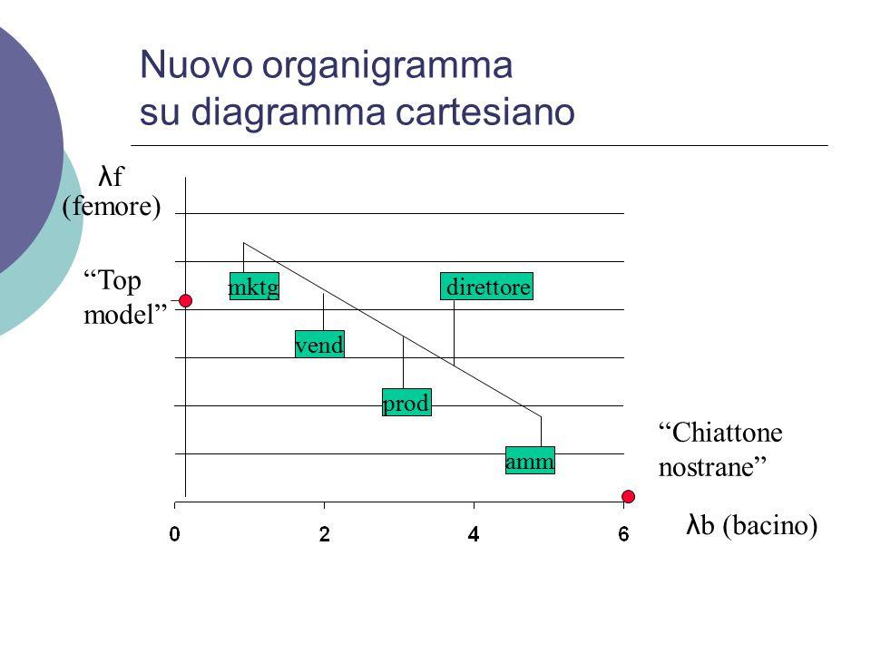 Nuovo organigramma su diagramma cartesiano λfλf λb (bacino) (femore) Top model Chiattone nostrane mktg vend prod amm direttore