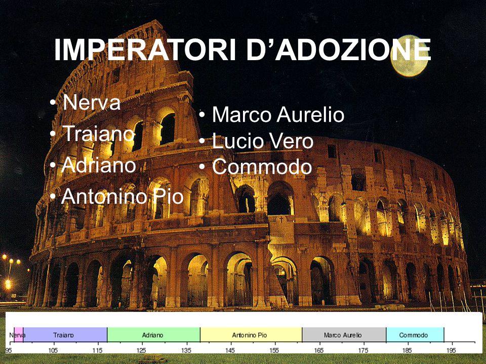 IMPERATORI D'ADOZIONE Nerva Traiano Adriano Antonino Pio Marco Aurelio Lucio Vero Commodo