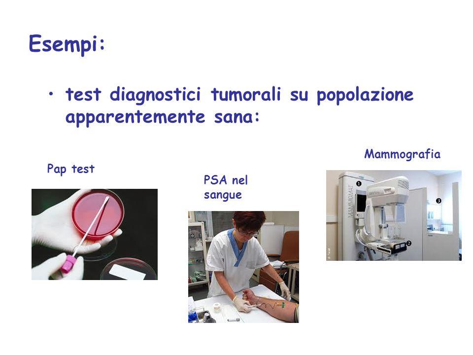 Esempi: test diagnostici tumorali su popolazione apparentemente sana: PSA nel sangue Pap test Mammografia