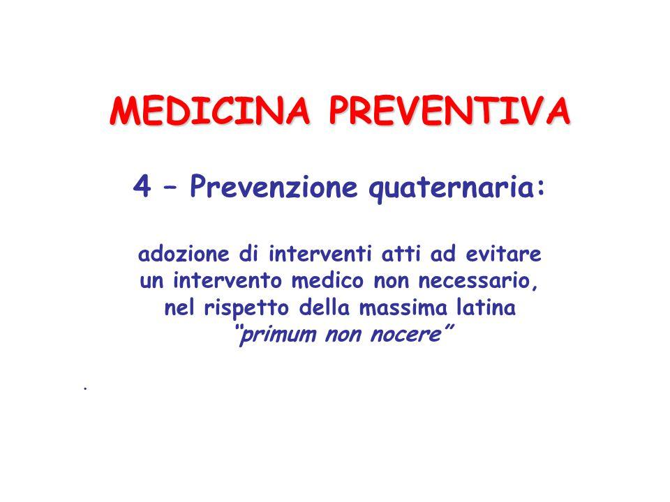 MEDICINA PREVENTIVA 4 – Prevenzione quaternaria: adozione di interventi atti ad evitare un intervento medico non necessario, nel rispetto della massima latina primum non nocere .