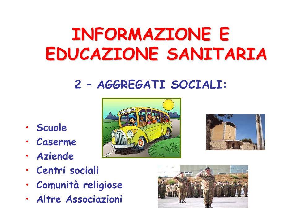 INFORMAZIONE E EDUCAZIONE SANITARIA 2 – AGGREGATI SOCIALI: Scuole Caserme Aziende Centri sociali Comunità religiose Altre Associazioni