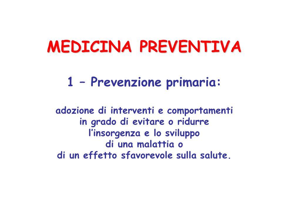MEDICINA PREVENTIVA 1 – Prevenzione primaria: adozione di interventi e comportamenti in grado di evitare o ridurre l'insorgenza e lo sviluppo di una malattia o di un effetto sfavorevole sulla salute.